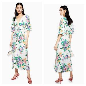 NWT Topshop PETITE Midi Dress Floral White 0